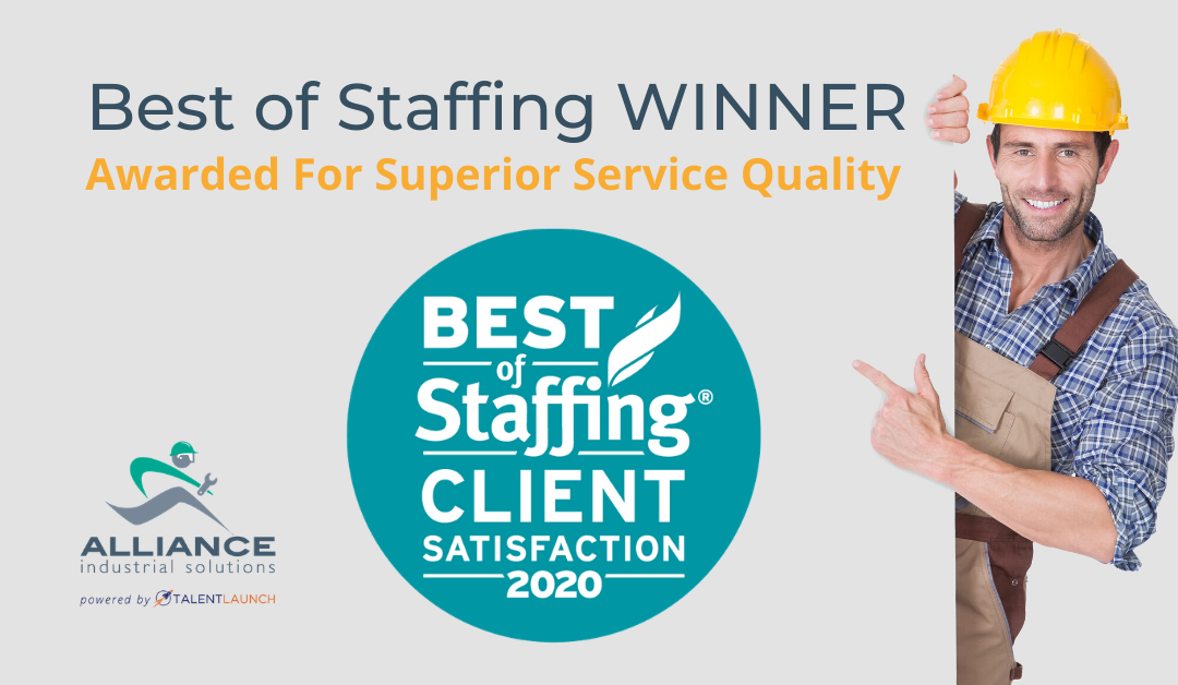 Alliance Industrial Solutions Wins ClearlyRated's 2020 Best of Staffing Client Award for Service Excellence